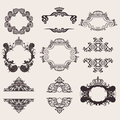 Set Of Nine Ornate Banner Quad Royalty Free Stock Photo