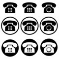 set of nine phone contact number icons