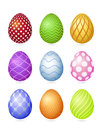 Set of nine photorealistic colorful Easter eggs with very