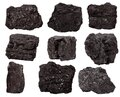 Set nine piece of coal isolated on a white Royalty Free Stock Photo