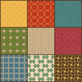 Set of nine retro simple geometric seamless patterns vector Stock Photography