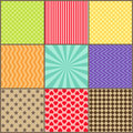 Set of nine simple geometric patterns vector Royalty Free Stock Image