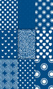 Set of nine simply flat geometric patterns blue background Royalty Free Stock Photography