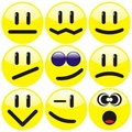 Set of nine smilies Stock Images