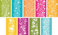 Set of nine spring flowers vertical seamless patterns ornament backgrounds Stock Photo