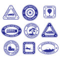 Set nine stamps badges tourism travel blue Stock Image