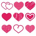 set of nine various cute red heart vector icon illustration isolated on white