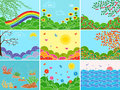 Set of nine various locations and seasons different pictures depicting multicolor vector illustrations Stock Photography