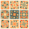 Set of Nine Vector Geometric Square Quilt Retro Pattern Design Element Set in Orange and Green Colors Royalty Free Stock Photo