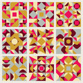 Set of Nine Vector Seamless Blue Pink Yellow White Colors Retro Geometric Ethnic Square Quilt Pattern Collection Royalty Free Stock Photo