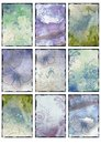 Set of nine vintage blue butterfly images backgrounds abstract collage Royalty Free Stock Photo