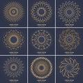 Set of nine vintage geometric circular elements