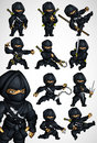 Set of 11 Ninja poses in a black suit Royalty Free Stock Photo