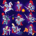 Set of noble knights in tricky situations eps Royalty Free Stock Photo