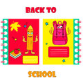 Set of notebook covers with funny pencil and backpack