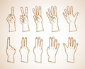 Set of numbers on the hands illustration . just outlines Royalty Free Stock Photo