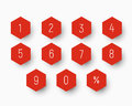 Set of numbers from 0 to 9 on button in the shape of a hexagon