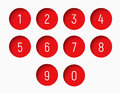 Set of numbers from 0 to 9 with a round red shape