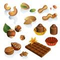 Sada skladajúca sa z orechy a čokoláda cukroví