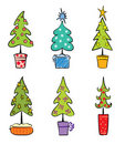 Set object -- Christmas trees Royalty Free Stock Photo