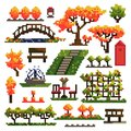 Set of objects for autumn park isolated on white background. Landscaping. Pixel art. Vector illustration