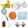 Set of objects for fitness. Stock Photos