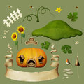 Set of objects for house pumpkins isolated to illustrate pumpkin computer graphics Stock Photos