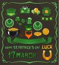 Set of objects on St. Patrick`s Day theme
