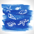 Set of ocean decoration on watercolour background blue Stock Images
