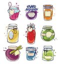 Set od hand drawn mason jars with jam, vector illustration Royalty Free Stock Photo