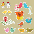 Set off retro floral background with birds Royalty Free Stock Photos