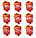 Set of offers and sale discount red banners collection
