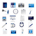 Set of office and business 3D glossy icons Stock Photos