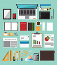 Set of office equipment in flat design. Icon collection of business work flow items . Royalty Free Stock Photo