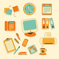Set of office icons business and colorful Royalty Free Stock Photography