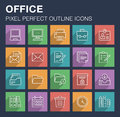 Set of office icons with long shadow.