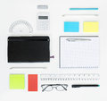 Set of office items workplace with and business elements on a desk concept for branding top view Royalty Free Stock Photos