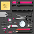 Set of office supplies eps illustration Stock Photos