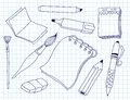 Set of office tools doodle illustration Stock Image