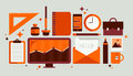 Set of office tools illustration flat design modern vector icons style workflow equipment with various and business objects Stock Photo