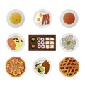 Set ofnine dishes from different world kitchens of nine icons isolated on white Royalty Free Stock Photos