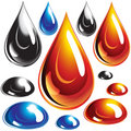 Set of Oil and Water Drops. Stock Photography