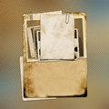 Set of old archival papers and vintage postcard Royalty Free Stock Photo