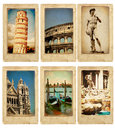 Set of old cards memories italy collection vintage Royalty Free Stock Images
