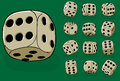 Set of old dices on green - vector illustration Royalty Free Stock Photo