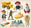Set of old fashioned toys for kids Royalty Free Stock Photo