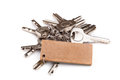 Set of old house keys isolated on the white Royalty Free Stock Photo