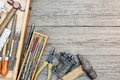Set of old instruments for house repair and construction in smal Royalty Free Stock Photo