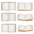 Set of old open photo albums isolated on white background with place for your photos closeup Stock Images
