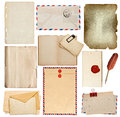 Set of old paper sheets, book, envelope, card Royalty Free Stock Photo